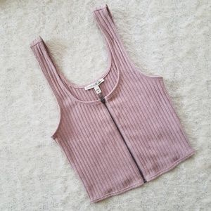 Express Pink Zippered Crop Top Ribbed Tank
